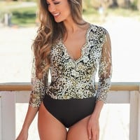 Black and Gold Printed Bodysuit