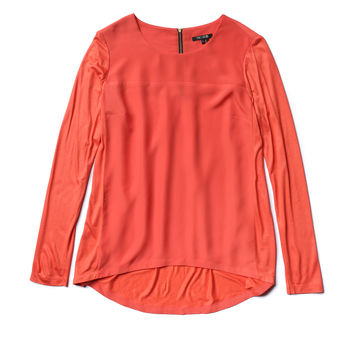 NIC+ZOE - Mixed And Zip Top - Hot Coral