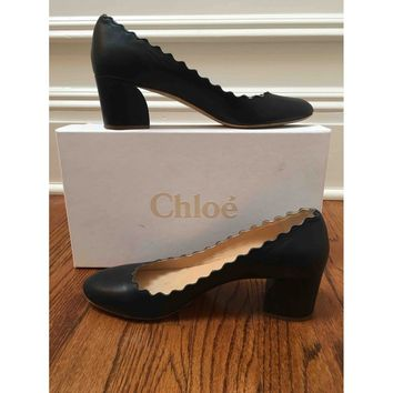 Leather heels CHLOÉ Navy