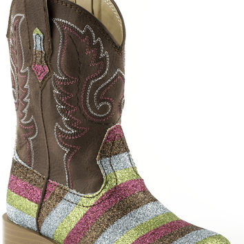 Roper Infant Bling Sqtoe Faux Leather Sole Boots Brown Shaft W Multi Color Glitter Vamp