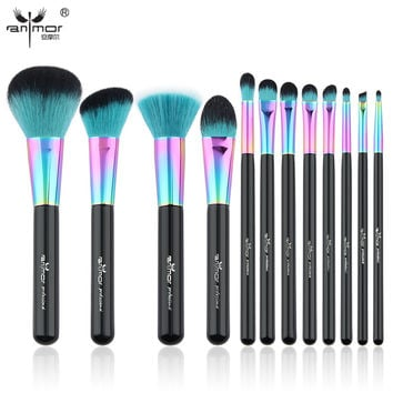 Anmor Hot Sale 12 PCS Makeup Brush Set Copper Ferrule Makeup Brushes Synthetic Hair Professional Make Up Tool HT001
