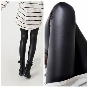 Faux Leather Elastic Leggings
