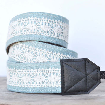 Unique DSLR Camera Strap  Linen and Lace  Blue by RhyahPapaya