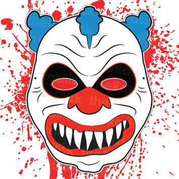 Scary Clown Mask | Halloween Mask | Clown Mask | Printable | Creepy
