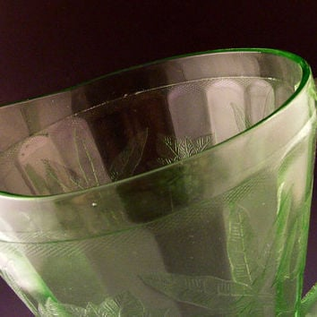 Vintage Depression Glass Pitcher Green Jeanette by TidBitz on Etsy