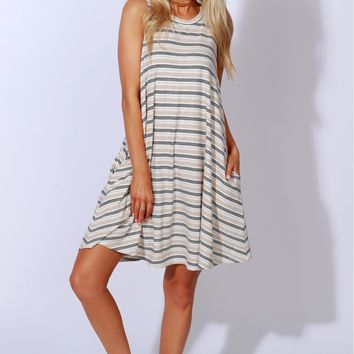 Sweet Sandy Striped Dress Ivory/ Taupe