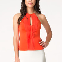 bebe Womens Solid Pleat Front Top