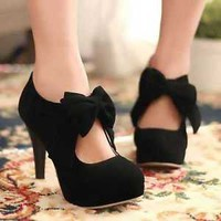 New Women's Classic Formal Party Pumps High Heel Platform Shoes With Bows