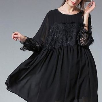 CHICEVER Black Lace Patchwork Dress Female Summer O Neck Batwing Sleeve High Waist Plus Size 5XL Long Dresses For Women Fashion