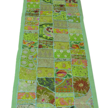 Green Antique Multi Color Patchwork Embroidered Wall Tapestry Runner