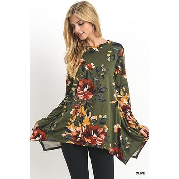 Jodifl floral print top with long sleeves and asymmetric hemline