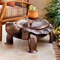Hammered Iron Patio & Garden Turtle Bench - Plow  Hearth