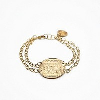 Roost Womens Brass Coin and Chain Bracelet - Brass, One Size