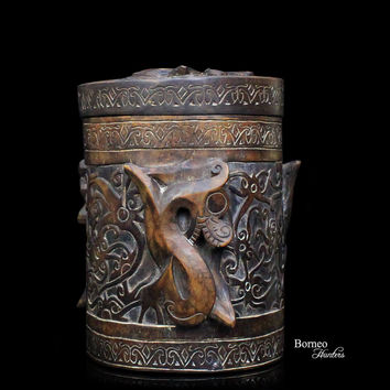 "Vintage Borneo Heirloom Container 9""Tribal Dayak Wood Box Carved Spiraled Dragons/Mythological Protective Figures/Foliate Scroll Artwork"