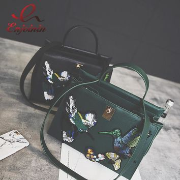 Good quality fashion bird embroidered retro ladies casual tote handbag women's crossbody shoulder bag messenger bags bat bag