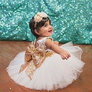 Pricess Kids Baby Girl Sequins Boknot Dress Party Dresses Christmas Costume