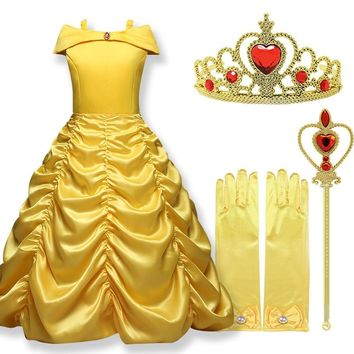 Belle Princess Dress cosplay Girls dress beauty and the beast Costume Kids dresses for girls Party Birthday Girls Clothing