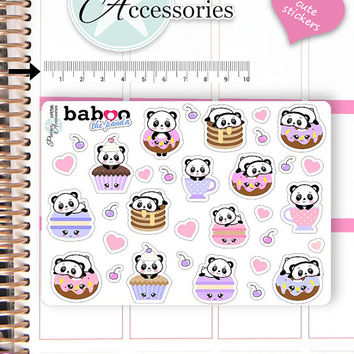 Kawaii Cupcake Stickers Cute Baboo Stickers Sweets Stickers Planner Stickers Erin Condren Functional Stickers Decorative Stickers NR786