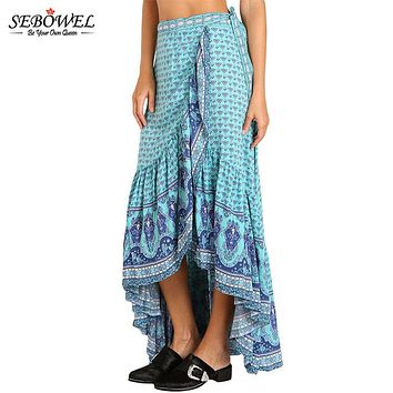 SEBOWEL 2018 Blue Gypsy Style Print Plus Size Maxi Skirt Boho High Low Summer Casual Long Skirt A Line Asymmetric Bohemian Skirt