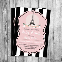 Paris Baby Shower Invitation Eiffel Tower Bebe Soiree Invite Black White French Theme Party Pink Flowers Lines (Printable file DIY Template)