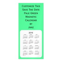 2016 Pale Green Calendar by Janz 4x9 Magnet Magnetic Invitations