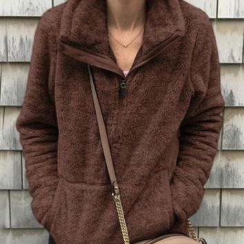 New Brown Pockets Zipper High Neck Long Sleeve Casual Sweatshirt