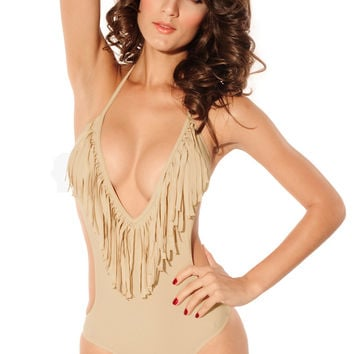Beige Halter Deep V-Cut Fringed Swimsuit