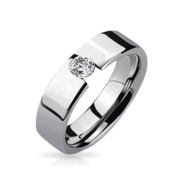 .25 CT Tension Bezel CZ Couples Engagement Ring Tungsten Rings 7MM