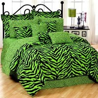 Black & Lime Green Zebra Print Bed In A Bag Set