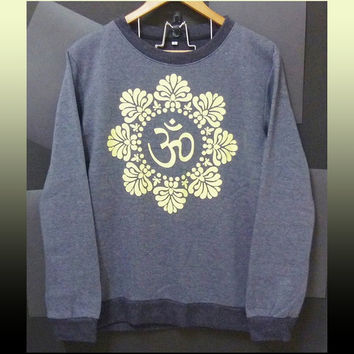 Om shirt flower sweatshirt India art Hindu winter jumper sweaters clothing long sleeve crew neck tee soft shirt size S M L XL XXL