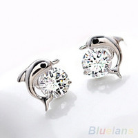 Women's Fashion Jewelry Cute Dolphin 925 Sterling Silver Crystal Rhinestone Zircon Earrings Studs (Size: One Size, Color: Silver) = 1946667396