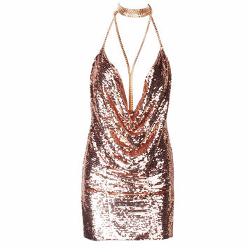 NYE Gold Sequin Party Dress