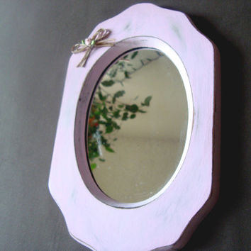 Pink Painted Small Mirror with Decorative Bow, Pink Nursery Decor, Pink and Gray, Shabby Chic, Light Pink Vintage Mirror, Wall Gallery