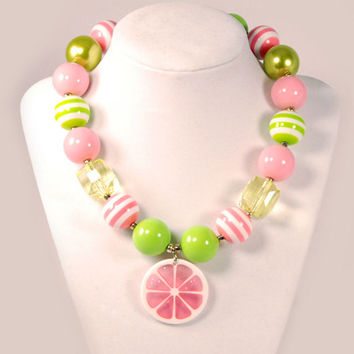 Girls Boutique Jewelry Gumball Necklace Pink And Lime Fruit Slice Chunky Beaded Necklace Flower Necklace
