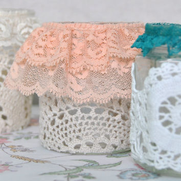 Doily Luminaries,Shabby Chic Doily Votives,Candles Votives,Glass Votives,Cottage Chic Decor,Wedding Candle Holder,Tea Light Candle Holder