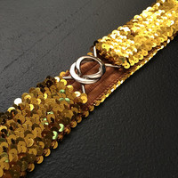 Vintage Gold Sequin Elastic Belt