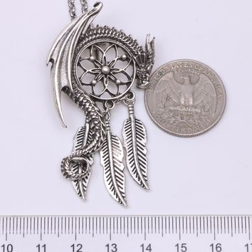Dragon Dream Guardian Pendant Necklace Bohemian Viking Charm Women Necklace Jewelry