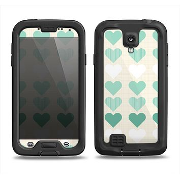 The Scratched Vintage Green Hearts Samsung Galaxy S4 LifeProof Fre Case Skin Set
