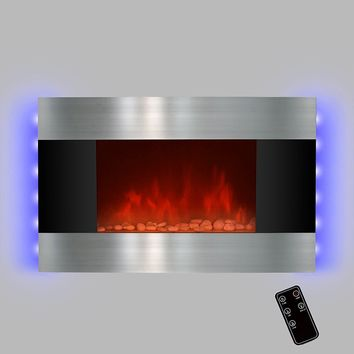 "LED Backlit 36"" Stainless Steel Wall Mount Heater Fireplace"