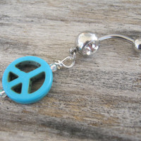 Peace Sign Belly Ring, Turquoise Blue Howlite Belly Button Ring, Swarovski Birthstone Personalized Piercing, Hippie Boho, Body Jewelry