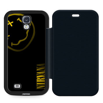 Nirvana Art Leather Wallet Flip Case Samsung Galaxy S4