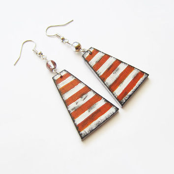 Retro wooden earrings, earrings wood, stripes, hand painted