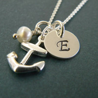 Nautical Beachy Solid Sterling Silver Anchor and Freshwater Pearl Hand Stamped Initial Christian Sailor Dainty Necklace (3/8th disc)