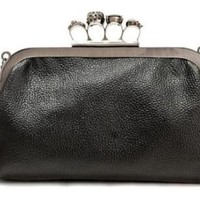 MDR Store Faux Leather Skull Clutch PU Purse Rings Duster Knuckle Style Party Bag