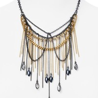 ABS by Allen Schwartz Two Tone Fringe Statement Necklace, 17"
