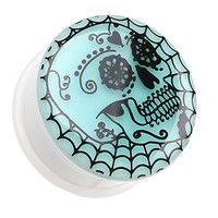 Glow in the Dark Spider Web Sugar Web Single Flared Ear Gauge Plug