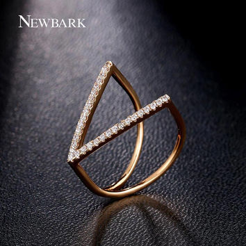 NEWBARK Fashion Accessories Jewelry Ring Unique V Shape Geometric Rings Paved Micro Cubic Zirconia Punk Party Anillos