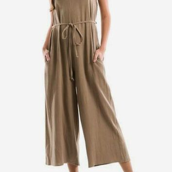 Elena Linen Jumpsuit in Olive