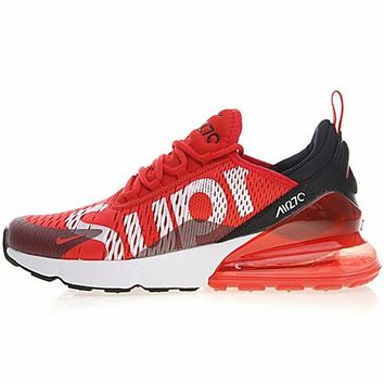 Supreme X Nike Air Max 270 Flyknit Red Sport Running Shoes - Best Online Sale