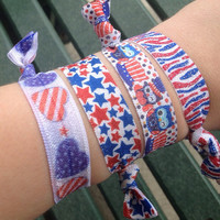 Assorted Fourth of July Fold Over Elastic Hair Ties